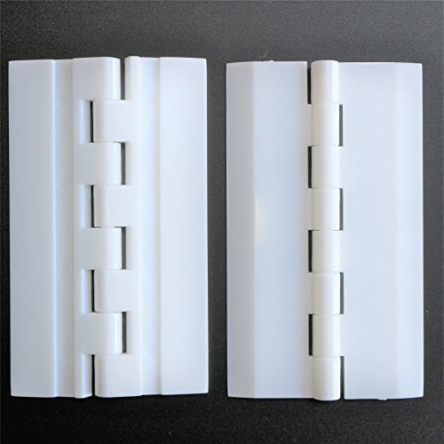 Pack of 2 x WHITE Acrylic Hinges 75mm x 45mm WHITE Hinges, 2-61/64