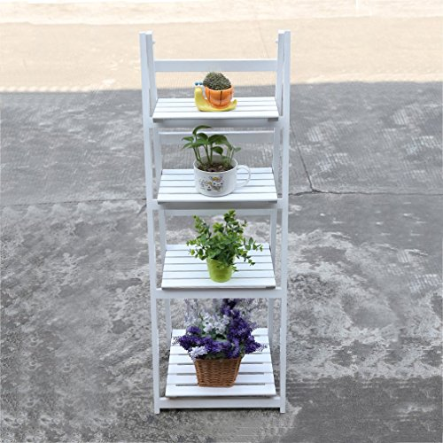 Genuine store 4 Tier Ladder Bookshelf, 45 inch A-Frame Leaning Home Office Wooden Free Standing Plant Stand Flower Shelf Display Unit for Kitchen Living Room Bathroom Balcony Office (White)