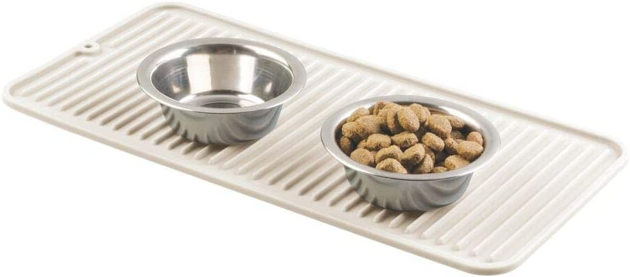 mDesign Premium Quality Pet Food and Water Bowl Feeding Mat for Dogs and Puppies - Waterproof Non-Slip Durable Silicone Placemat - Raised Edges, Food Safe, Non-Toxic - Small - Cream/Beige