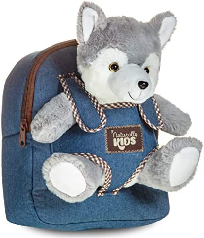Toddler Kids Backpack w Husky Toy Wolf Stuffed Animal Plush Toys for 2 3 4 5 6 Year Old Girls Boys - Gifts for 2 3 4 5 6 Year Old Boy Girl - Husky Wolf Toy