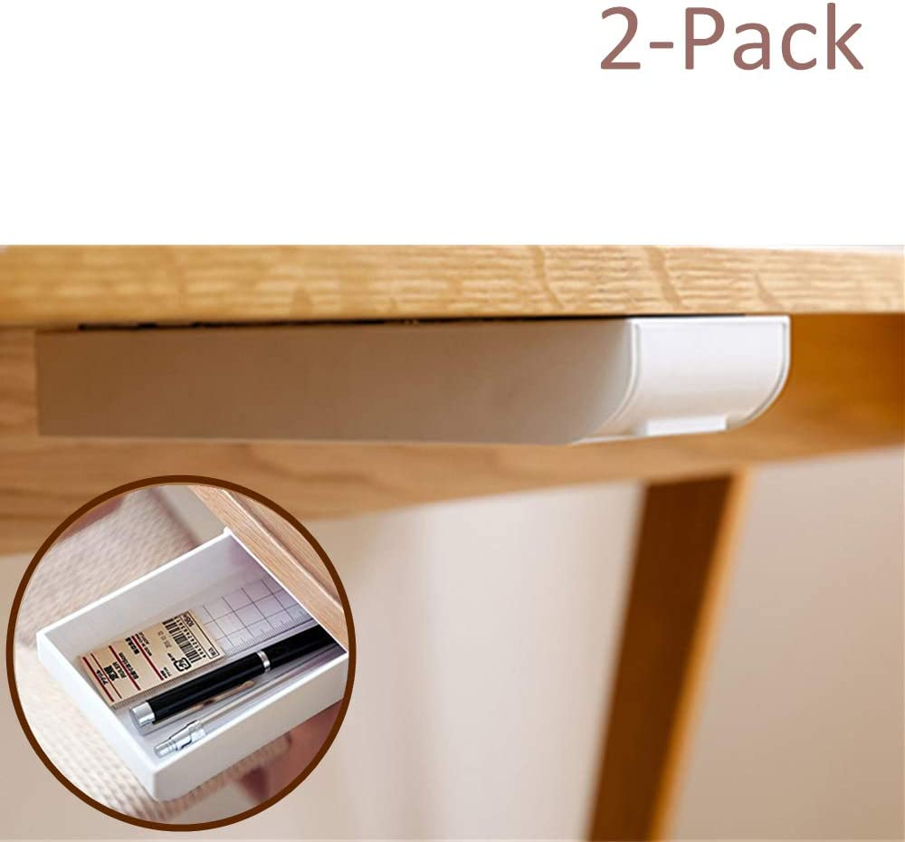 Desk Pencil Drawer Organizer Large Capacity Pop-Up Student Storage Hidden Desktop Drawer Tray White, 2-Pack Great for Office School Home Desk