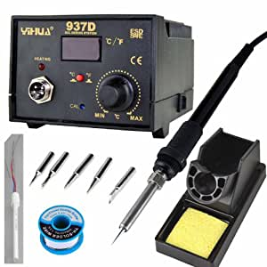 Weber Displays YIHUA SMD Soldering Station 937D Real-time Digital LED Display With Celsius / Fahrenheit Temperature Switch and 6 Iron Tips, Extra Iron Heating Element and Solder. 937D