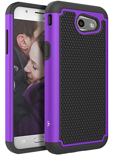 For Samsung Galaxy J3 Emerge/J3 2017/J3 Prime/J3 Mission/J3 Eclipse/J3 Luna Pro/Sol 2/Amp Prime 2/Express Prime 2 Case, LK Hybrid Armor Defender Protective Case Cover (Purple)