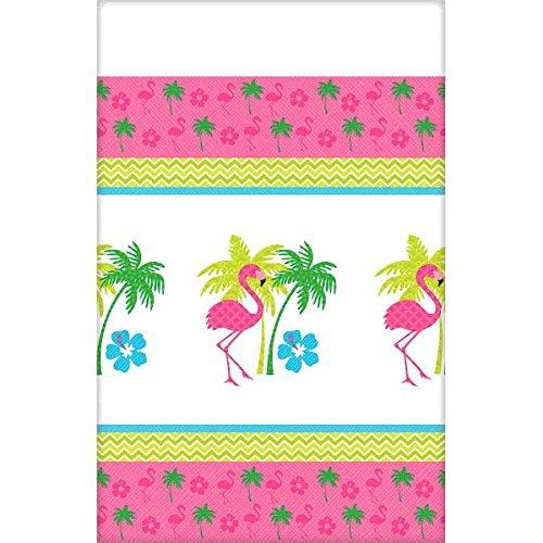 Amscan Sun-Sational Summer Luau Party Flamingo Fun Printed Table Cover, Multi Color, 15.6 x (Flamingo Costume Ideas)