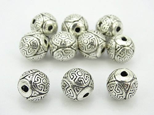 (jennysun2010 Carved Round 12mm Vintage Patterned Tibetan Silver Spacer Connector Charm Beads 3 Hole Tibet Guru (Hollow) 20 pcs per Bag for Necklace Earrings Jewelry Making Crafts Design)