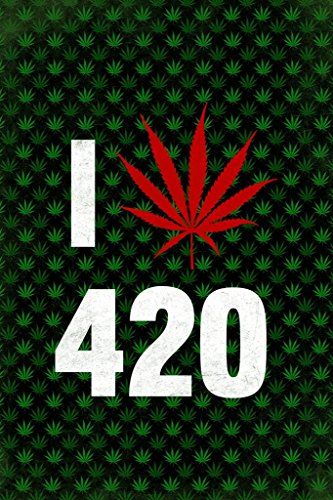 Marijuana I Love 420 Weed Pot Cannabis Joint Blunt Bong Leaf Pattern with Red Leaf Mural Giant Poster 36x54 inch (Best Buds Weed Wallpaper)