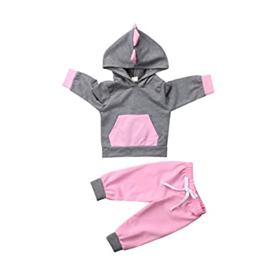 b5eee7c5c41c Amazon.com: Newborn Baby Girl Autumn Clothes Set, Kid Long Sleeve 3D  Dinosaur Top Hoodies Sweatshirt Pants Leggings Outfits: Clothing
