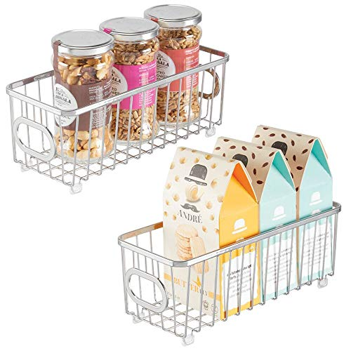mDesign Metal Farmhouse Kitchen Pantry Food Storage Organizer Basket Bin - Wire Grid Design - for Cabinets, Cupboards, Shelves, Countertops, Closets, Bedroom, Bathroom - Small, 2 Pack - Chrome