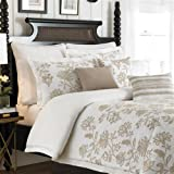Croscill Devon King Duvet Cover Set 3 Pieces, Off White Tan Floral