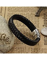 Men's handmade Titanium steel Silicone leather fashion bracelet (P894)