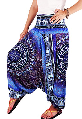 Villas - African Dashiki dot printed- 2 in 1 Harem Pants Hippie Trousers Jumpsuit (Hippie Outfits For Guys)