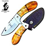 8'' Bone Collector Guthook Hunting Knife Gut Hook Blade Yellow Bone Hand Made Full Tang Handle