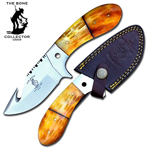 "8"" Bone Collector Guthook Hunting Knife Gut Hook Blade Yellow Bone Hand Made Full Tang Handle"