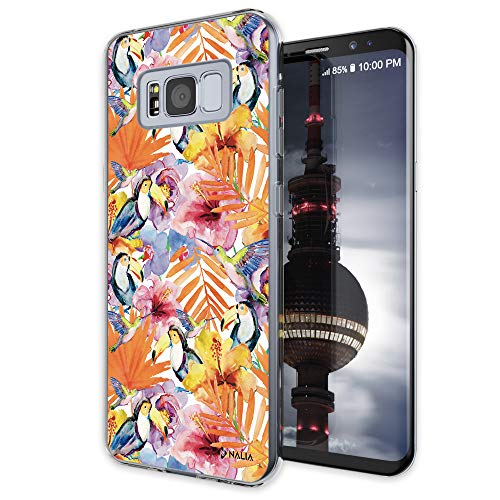 NALIA Motif Case Compatible with Samsung Galaxy S8, Pattern Design Silicone Back Cover Protector Soft Skin, Crystal Shockproof Phone Bumper, Slim Transparent Protective, Designs:Toucan ()