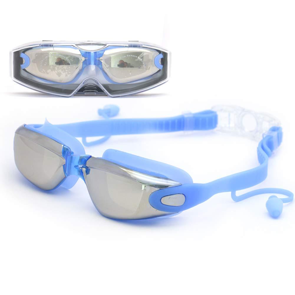 MIWORM HDメッキ 防水&曇り止め スイミングゴーグル シリコン一体型耳栓 ユニセックス 調節可能 ダイビングゴーグル  ブルー B07MXHKLWG