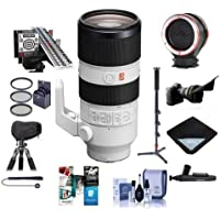 Sony FE 70-200mm f/2.8 G Master OSS E-Mount NEX Lens - Bundle With 77mm Filter Kit, Flex Lens Shade, LensAlign MkII Focus Calibration System, Peak Lens Changing Kit Adapter, LensCoat RainCoat, Monopod