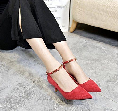 6Cm Followed Light Lady Heeled High MDRW Shoes Elegant Tip Spring Tie Elegant Stylish Red Single Slotted The Leisure Shoes 34 Work Fine Port gqq18nwv