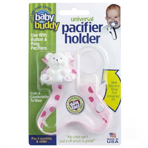Baby Buddy Universal Pacifier Holder, Pinky Dots