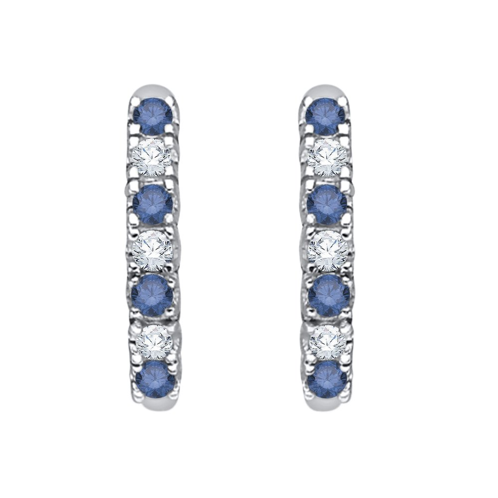 Alternating Blue and White Diamond Huggie Earrings in 10K White Gold (1/4 cttw) (Color GH, Clarity I2-I3)
