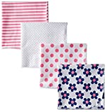 Gerber Baby-Girls Flannel Receiving Blanket, Flowers, One Size (Pack of 4)