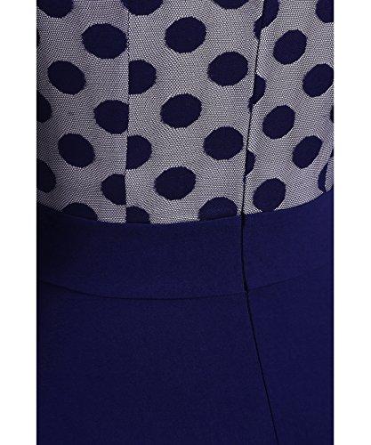 2 Optical Swing Sleeve Blue Illusion Dot 3 Aecibzo Women's Casual Dress Polka Vintage pq8vIY