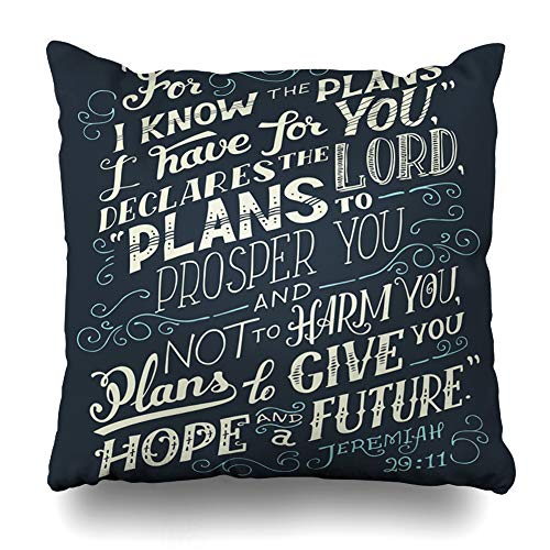 Ahawoso Throw Pillow Cover Bible Know Plans Have You Declares Lord for I to Prosper Not Harm Give Hope Future Quote Decor Zippered Cushion Case 16