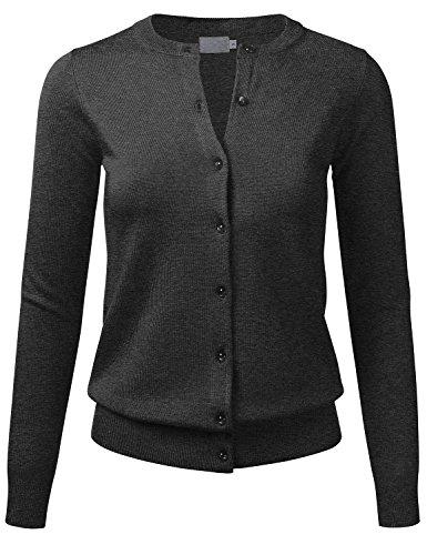 FLORIA Women's Gem Button Crew Neck Long Sleeve Soft Knit Cardigan Sweater CHARCOALGRAY L