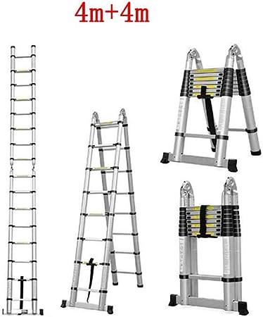GLJJQMY Escalera Plegable, multifunción, doméstica, Escalera telescópica, Interior, sección de bambú, Espiga, Escalera Recta Doble (Size : 4m+4m): Amazon.es: Hogar