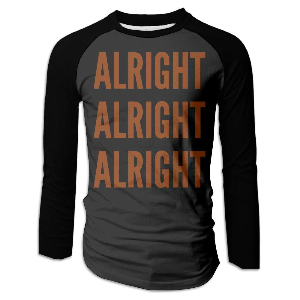 BFS/&33 Alright Alright Alright Mens Gym Round Neck Long Sleeve T Shirts Contrast Raglan Top