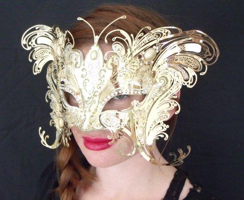 Bellini Gatti/Gold Two Wing Butterfly Venetian Halloween Mask/swarovski (Gatto Halloween)