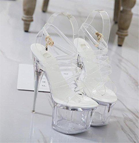 Traverser à eu35 Aiguille Taille Talon Criss Fête Transparent 35 Chaussures EU38 GAOGENX Club Florale Les White pour 39 Femmes Forme Plate Sandales Bretelles des AwgPYpHq