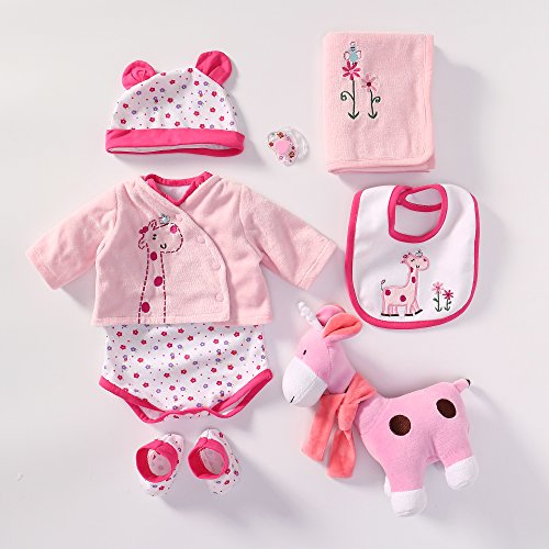 (Reborn Baby Doll Outfits Accessories 6 Piece Set with Pacifier and Toy Giraffe for 20