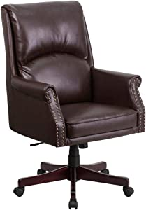 Flash Furniture High Back Pillow Back Brown LeatherSoft Executive Swivel Office Chair with Arms