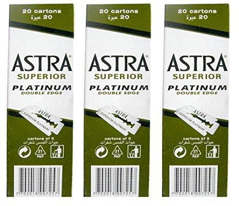 100 Astra Superior Premium Platinum Double Edge Safety Razor Blades 3-Count Pack (Razor Premium)