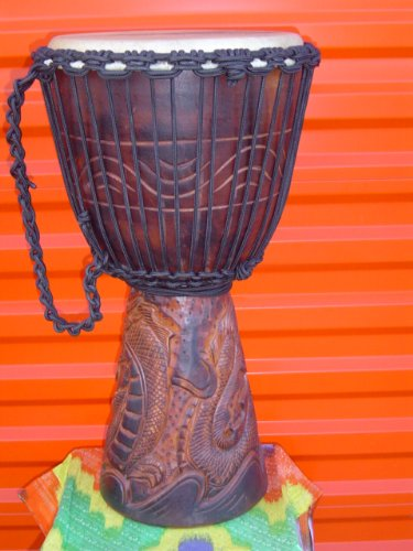PRO 3 RING - 24'' X 14'' Djembe Deep Carved Hand Drum Bongo DRAGON - Model # 60m25 3R by madedrums