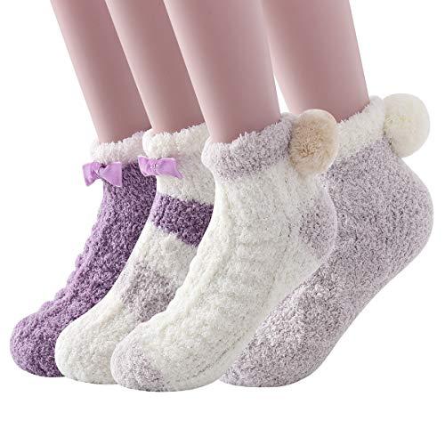 Skola Super Soft Cozy Winter Warm Slipper Socks Womens Anti Slip Grip Fuzzy Pom Pom Socks 4 Pairs(Purple series)