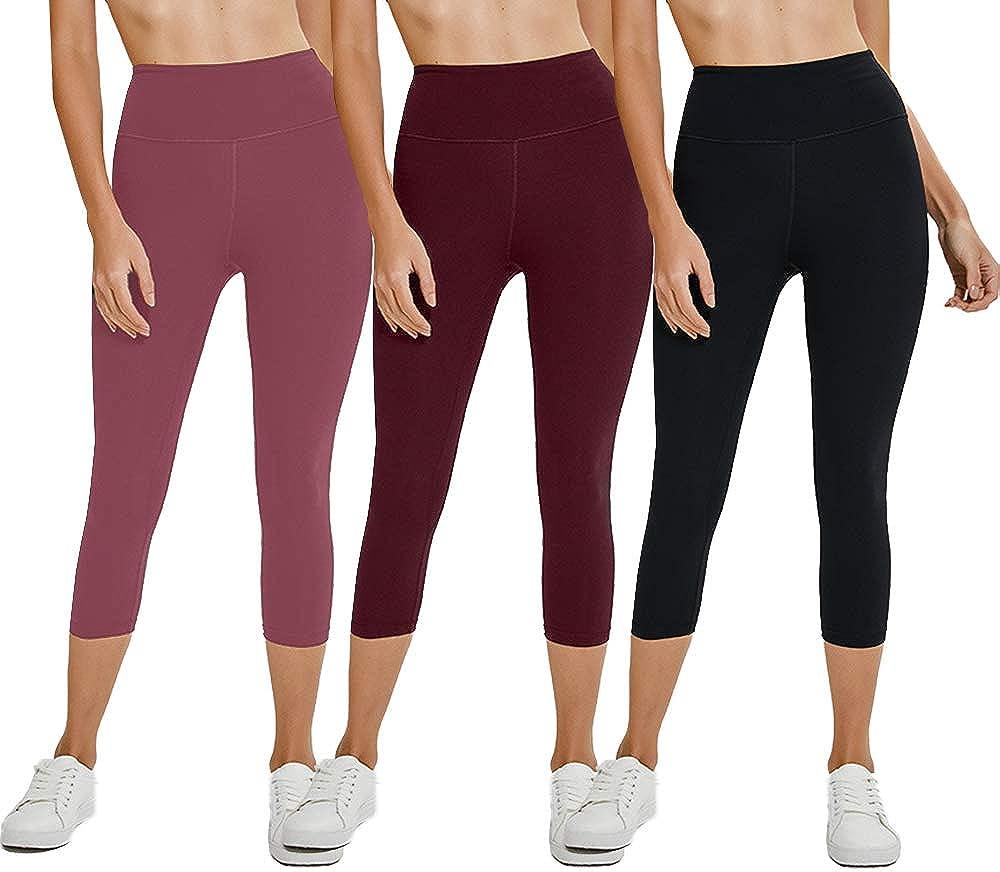 we fleece High Waist Ultra Soft Athletic Sport Womens Leggings Tummy Workout Slimming 2//3 Pack of Capri Yoga Pants
