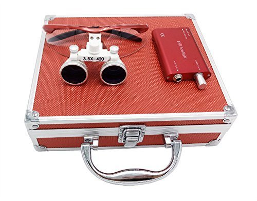 Aries Outlets YJ-0123467891011-l 3.5 x 420mm Working Distance Surgical Binocular Loupes Optical Glass with LED Head Light Lamp and Aluminum Box, Red