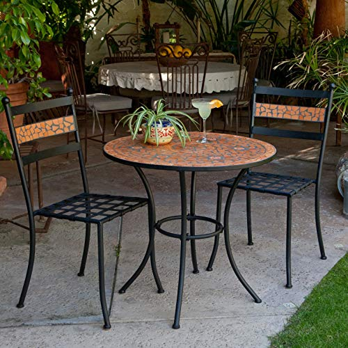 Outdoor Living Hacienda Floral Rust Terra Cotta Mosaic Wrought Iron Small Space Patio Dining Set Bistro Set