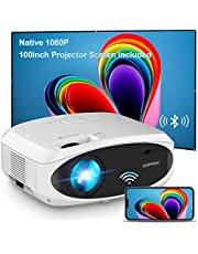 $289 » WiFi Projector Bluetooth 7500L Full HD 1080P Projector, XOPPOX Outdoor Movie Projector Video, Wireless Mirroring Projector Compatible with HDMI/USB/Laptop [100'' Screen Included]