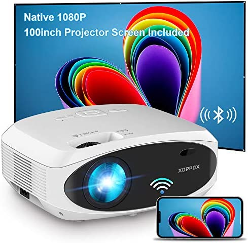 WiFi Projector Bluetooth 7500L Full HD 1080P Projector, XOPPOX Outdoor Movie Projector Video, Wireless Mirroring Projector Compatible with HDMI/USB/Laptop [100'' Screen Included]