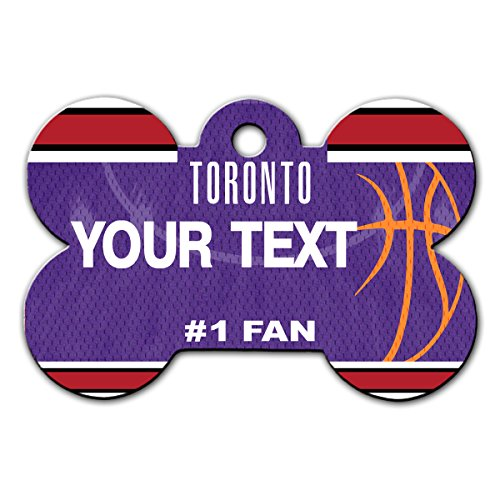 BleuReign(TM) Personalized Custom Name Basketball Toronto License Plate Auto Tag Bone Shaped Metal Pet ID Tag with Contact Information
