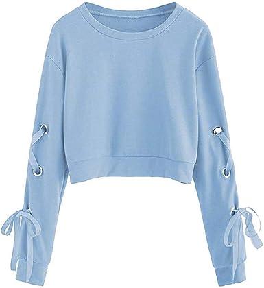 BOLAWOO Sweat Shirt Femme Adolescente Décontracté à Lacets à