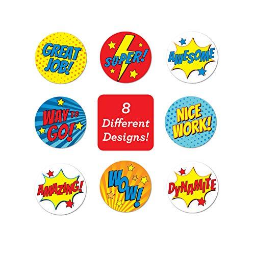 Super Hero Reward Stickers / 500 Stickers per roll / 8 Super Hero Designs