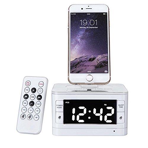 Charger Dock Station Fm Radio Alarm Clock Portable Audio Music Wireless Bluetooth Speaker for iPhone 7 7 Plus 5 6 6s SE(White)