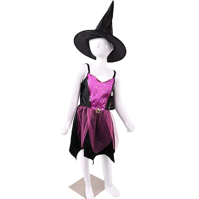 Halloween Bruja Disfraz, Bruja Banda Sombrero Capa Niños Partido ...
