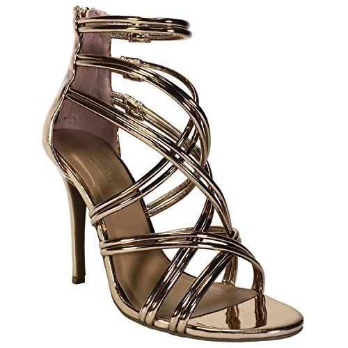 Anne Michelle Women's Metallic Multi Strap Heel Sandal, Rose Gold Patent PU, 8.0 B (M) - Heels Gold Multi