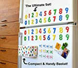 Perfect Storage! Magnetic Numbers with Refrigerator Hanging Basket! 4 Sets of 0-9 Digits & 12 Math Symbols = 52 Wooden Numbers Magnets. Preschool Educational Toy for Learning to Read and Write Numbers