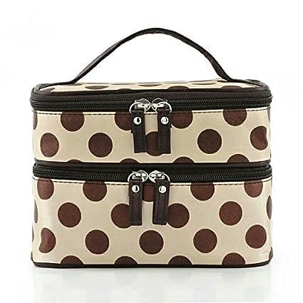 L-FENG-UK Polka Dots Double Layer Dual Zipper Cosmetic Bag Toiletry Bag Make-up Bag Hand Case Bag£¨beige£©