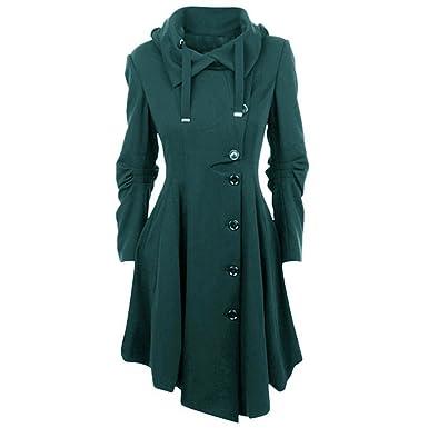 OEAK Damen Herbst Elegant Gothic Mäntel Kleider Trenchcoat Lang Parka mit Asymmetrisch  Saum Jacke Windbreaker 1071a3482f